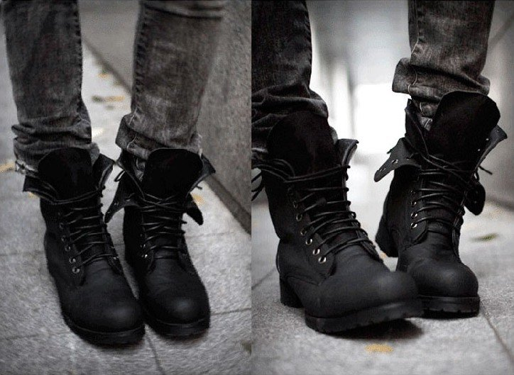 Military lace-up boots shown here with slim, bleached grey jeans.